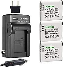 Kastar 3X Battery + Charger for Olympus LI-50B LI-50C & XZ-1 SZ-30MR SZ-10 SZ-11 SZ-20 SP800UZ Stylus Tough-6020 Tough-8010 Tough-6000 Tough-8000 Tough TG-810 1030 SW TG-610 SZ10 Tough 8000 TG810