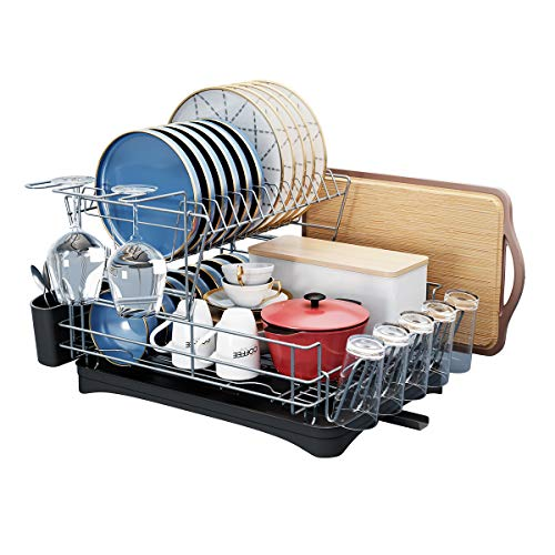 Dish Drying Rack, SMHOUSE 2-Tier Dish Drainers with Utensil Holder,Cutting Board Holder,Cup/Wine Cup Holders,Drainboards Adjustable Swivel Spout for Kitchen Countertop