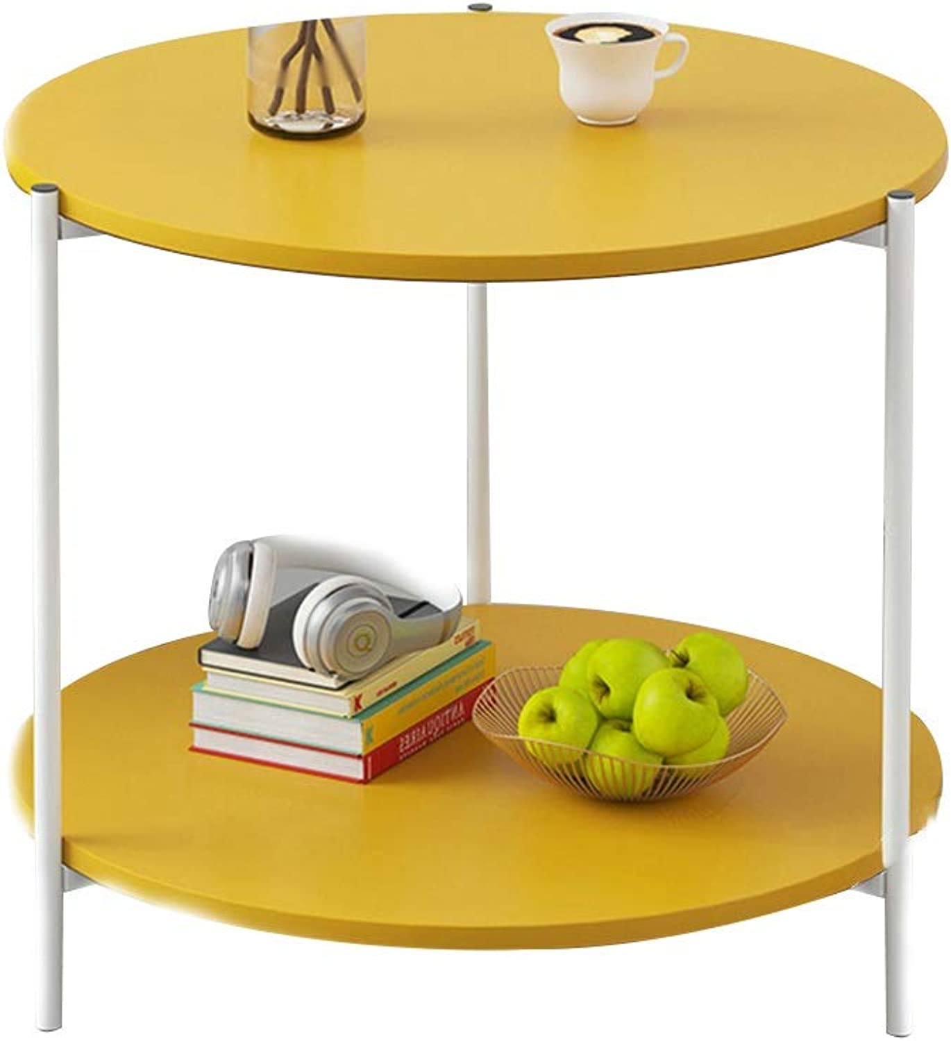 Coffee Table Coffee Table, Multipurpose Double Layer Open Storage Sofa Side Table Small Apartment Mini Snack Table Nordic Style Bedside Table (color   Yellow)