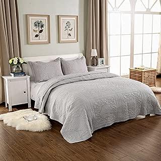 3-Piece Comforter Set Embroidered Cotton Diamond Floral Agnle Bedspread Patchwork Quilt Sets King Gray