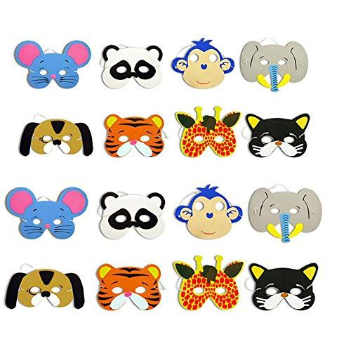 ysister 12 Pezzi Maschere per Bambini, Maschere Animali, Animali della Giungla Cosplay Festa in Maschera tra i 3 EI 12 Anni per la Foresta e Lo Zoo a
