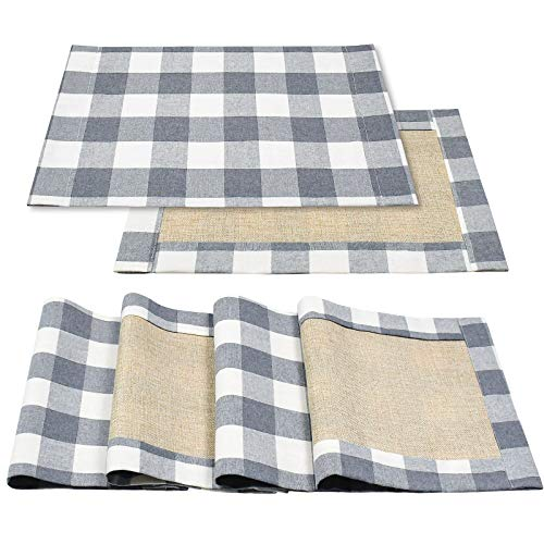 Senneny Placemats Buffalo Check for Dining Table Set of 6 Reversible Burlap Cotton Placemats Buffalo Plaid GrayWhite Rustic Farmhouse Placemats for Kitching Dining Table Home Decoration