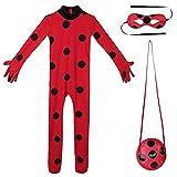 Nice sport Enfant Fille Déguisement Coccinelle Miraculeuse Combinaison à Manches Longues & Masque & Sac Bodysuit Cosplay Ladybug Costume de Carnaval 5-12 Ans (3-4 Ans, Vetement)