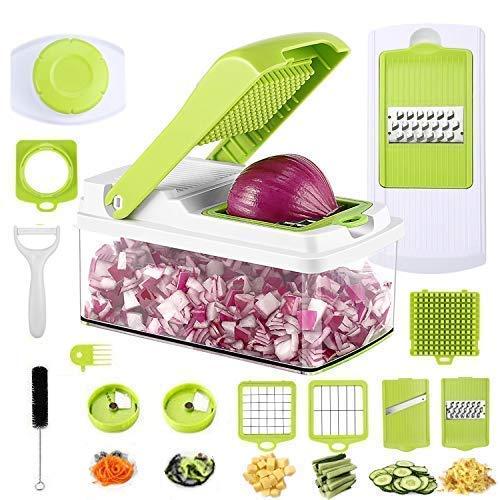GreensKon Edelstahl Gemüseschneider Obstschneider kartoffelschneider,Gemüsereibe Julienneschneider AZwiebelschnebnehmbar Gemüsereibe Essen Slicer Gemüse-Schneider (13 in 1)
