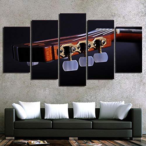 GZSBYJSWZ Pintura Modular Lienzo Cuadros artísticos de Pared 5 Piezas Instrumento Musical Guitarra decoración del hogar para Sala de Estar Cartel Moderno con impresión HD