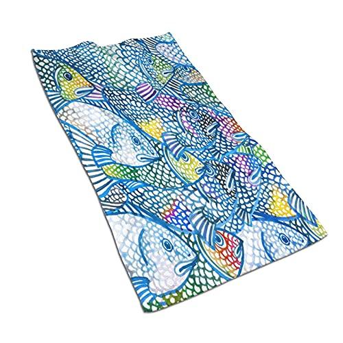 AOOEDM Toallas de mano, fondo de acuarela de peces marinos, estampado de patrón suave, muy absorbente, toalla de baño para baño, hotel, gimnasio y spa, 27.5 x 15.5 pulgadas