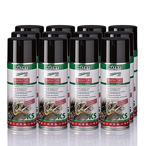 MATHY-KS Trockenkettenspray MATHY-KS Trockenkettenspray zur Reinigung und Pflege von Ketten Motorrad und Fahrrad 12 Dosen X 400ml