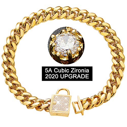 PRADOG Dog Collar with Zirconia Locking 14mm Gold Metal Puppy Collar Luxury Dog Bling Cat Necklace Small (14MM, 14
