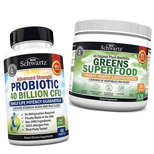 Probiotic 40 Billion CFU + Super Greens Powder with 3 Servings of Veggies per Scoop - Promotes Healthy Digestion & Intestinal Support- Immune System Defense