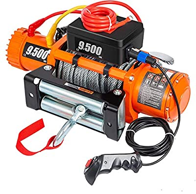 VEVOR Electric Winch 9500lb Load Capacity Truck Winch Compatible with Jeep Truck SUV 85ft/26m Cable Steel 12V Power Winch with Wireless Remote Control, Powerful Motor for ATV UTV Off Road Trailer