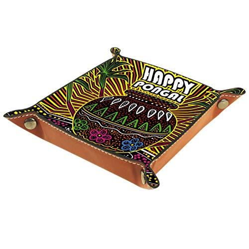 KAMEARI Bandeja de cuero para monedas de teléfono Happy Pongal, de piel de vacuno, práctica caja de almacenamiento para carteras, relojes, llaves, monedas