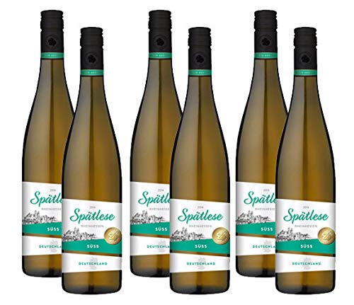 6 Flaschen Wein-Genuss Rheinhessen Spätlese 2019, süß, (6 x 0,75 l)