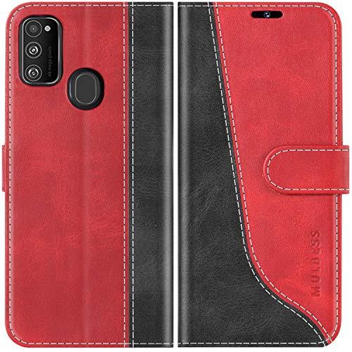 Mulbess Handyhülle für Samsung Galaxy M21 Hülle Leder, Samsung Galaxy M21 Handy Hüllen, Modisch Flip Handytasche Schutzhülle für Samsung Galaxy M21, Wine Rot