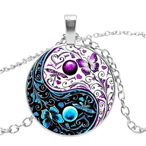 Collar con colgante de 3 colores con forma de cabujón del Tíbet y cadena de cristal de Ying Yang y mariposa, regalos para hombres y mujeres