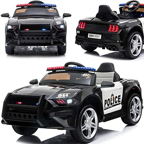 BPD Elektrisches Kinderauto Elektroauto US-Polizeiauto GT 12V Akku weiche Eva-Reifen Ledersitz 2x45W Motoren