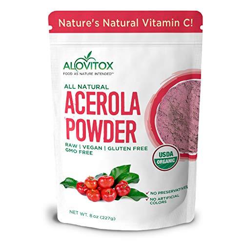 Alovitox Organic Acerola Cherry Powder 8 Oz | Pure, Natural Vitamin C Powder for Immune System Support, Non GMO, Gluten Free, and Vegan