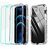 GDTOGRT Compatible with for iPhone 12 Pro Max Case, with [2X Tempered Glass Screen Protector] Clear 360 Full Body Protective [Military Grade Drop Protection] Case Cover for iPhone 12 Pro Max 6.7'