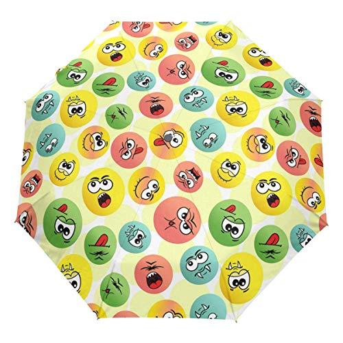Vampir Lustiger Emoji Auto Regenschirm Öffnen Schließen Niedliche Emoticons Winddichter Reiseschirm Leichter kompakter Sonnenschirm Sonnenschirm & Regen