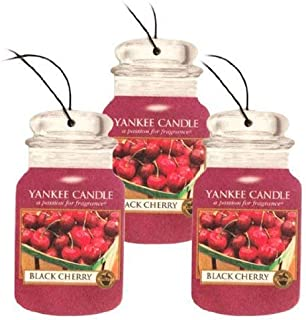 Yankee Candle Car Jar Classic Cardboard Car,Home and Office Hanging Air Freshener, Black Cherry Scent (Pack of 3)