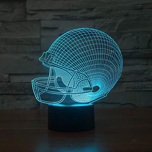 Wangzj Lámpara de 7 colores Payaso de Halloween Luces de noche LED visuales 3d para niños Touch Usb/Hallowe\'en Party/Remote Touch switch-Football Helmet
