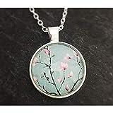 Damen Hals-kette mit Anhänger Kirschblüten Magnolien-Blüten Glas-Cabochon 25mm Motiv türkis rosa...