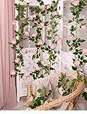 SHACOS 3er Pack künstliche Girlande Pfingstrosen Pink Rosen Girlanden Vintage Rosa Seidenblume Ideal für Party Hause Bogen Wand 200 cm