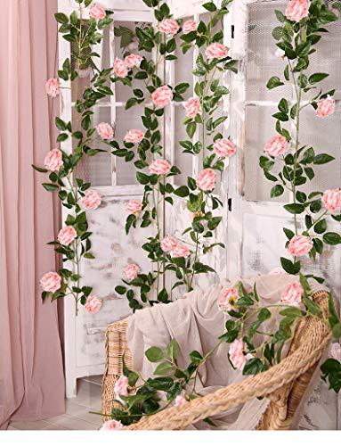 SHACOS 3 Stück Blumengirlande Rosa künstlich Kunstblumen Pfingstrosen Pink Rosen Girlanden Vintage Seidenblumen für Party Hause Bogen Wand (3x2 Meter)