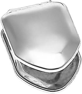 Healifty ヒップホップの歯のキャップソリッド14Kゴールドメッキの小さなシングルトゥースキャップ上下のヒップホップの歯のグリル(シルバー)