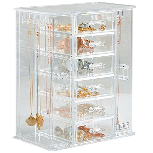 Beautify Clear Acrylic Jewelry Organizer Chest/Makeup Storage Box with 6 Drawers & Hanging Necklace Holder - Clear
