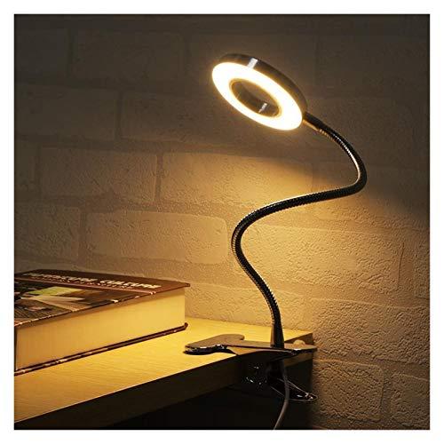 WHBGKJ Luz de Noche Lámpara de Escritorio LED con la Abrazadera Regulable Light Reading Eye-Care lámpara de Mesa de Noche LED luz de la Noche de Clip iluminación (Body Color : Silver)
