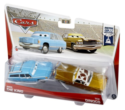 Disney/Pixar Cars Mrs. The King and Tex Dinoco Diecast Vehicle, 2-Pack