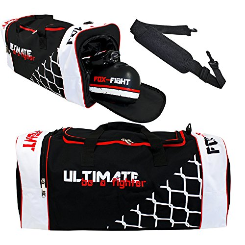 FOX-FIGHT Ultimate Sport Tasche Sporttasche Sportbag Gym Training Bag Schuhfach (L (70x28x28cm))
