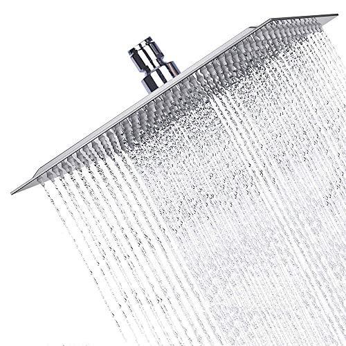 High Pressure Shower Head, Sinzau 10 Inch Square Rain Showerhead, 304 Stainless Steel, Ultra-Thin Design, Best Pressure Boosting