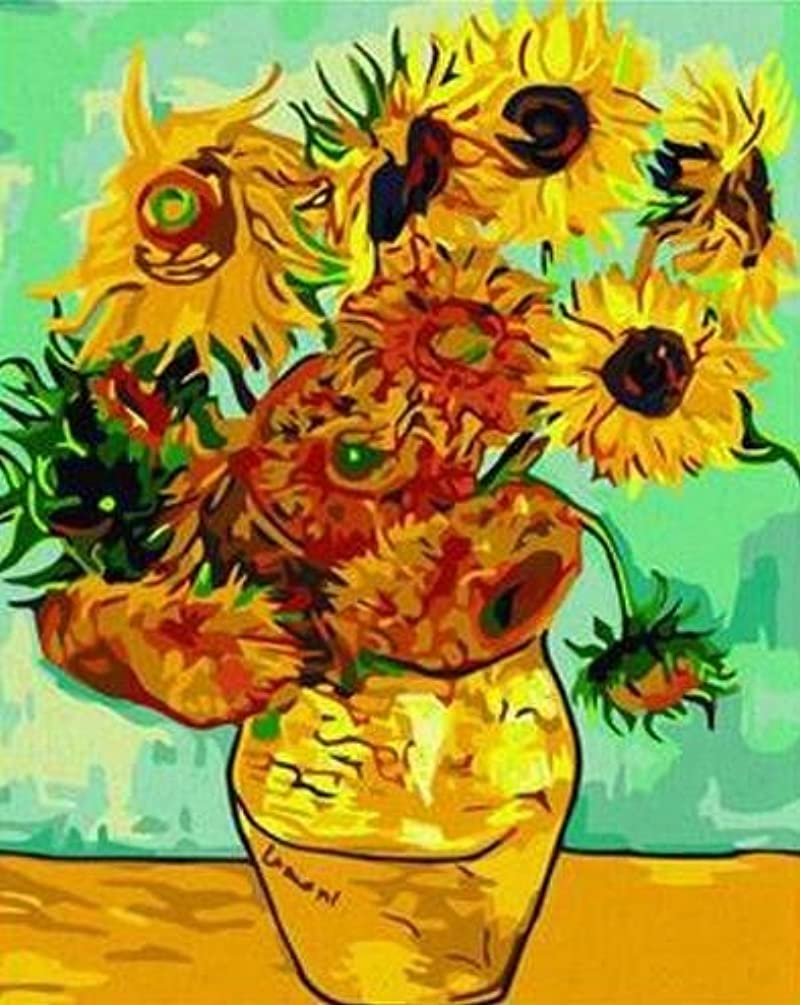 Colour Talk Diy painting, paint by number kit- worldwide famous oil painting Vase with Twelve Sunflowers by Van Gogh 1620 inch.