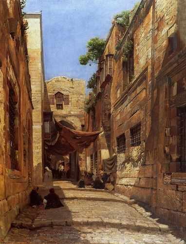 Gustav Bauernfeind Scene Of Street In Jerusalem A3 Box Canvas Print