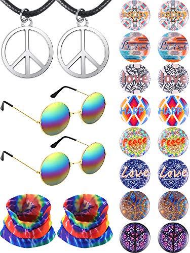 Frienda Hippie Accessories Set - 2 Pieces Peace Sign Necklace, 2 Pairs Sunglasses, 2 Pieces Tie Dye Headband and 16 Pieces Button Pins
