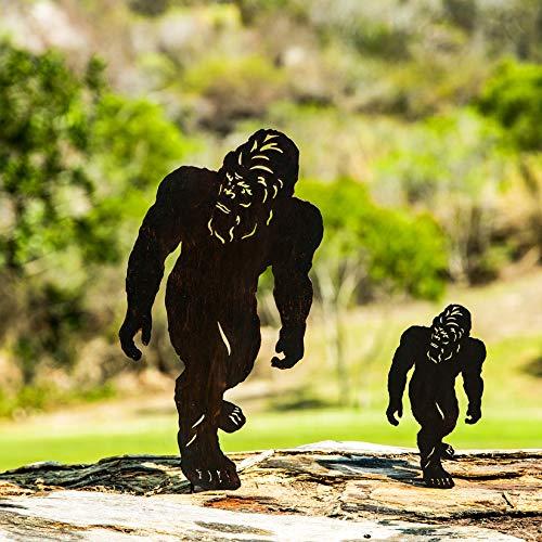 "TT & MM Bigfoot Garden Decor Metal Stake - 2 Packs Sasquatch Yeti Yard Art Bigfoot Outdoor Decorations Gifts Set 16""H x 8""W & 8""H x 4""W"