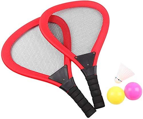 JSY raquetas de bolas de juguete juego de raqueta que puede brillar el juego de deportes al aire libre para niños juegan para jardín, playa, raqueta de tenis de plástico para niños, juguetes al aire libre para niños de 3 a 5 años para exteriores, rojo