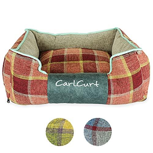 CarlCurt - Weiches waschbares Hundebett á 83x74x28 cm mit schmutzabweisenden orangeroten Leinengewebebezug – Gefüllt mit antibakteriellen Schaumstoffkissen für Geruchsneutralität & 100% Liegekomfort