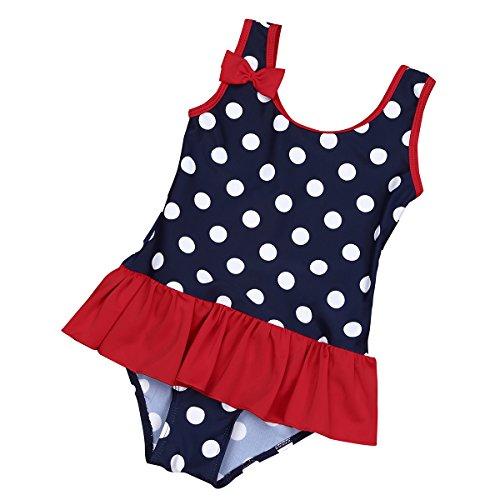 iEFiEL Baby - Mädchen Badeanzug Einteiler Bikini UV-Schutz Bademoden All-Over gepunktet 62 68 74 80 86 92 98 Marineblau 74