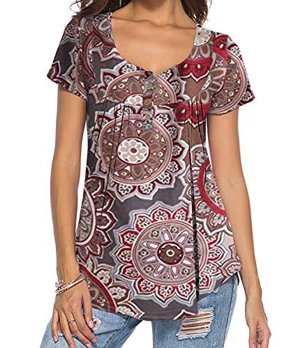 DEMO SHOW Damen Tunika Top Locker Langarm V Ausschnitt Knopfleiste Plissiert Floral Henley Shirt Bluse T Shirt (Braun 01, S)