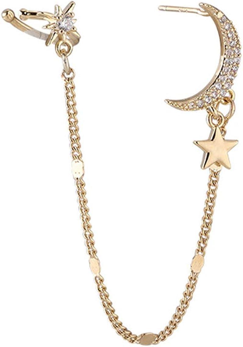 Ear Cuffs Chain Earrings for Moon Women Crawler Girls Stars Detroit Detroit Mall Mall