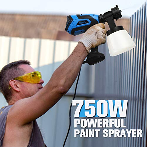 DILAKS 750W Paint Sprayer, HVLP Home Sprayer Gun with 1000ml Container, with 6 Nozzle Size for Different Painting Projects, Easy Spraying and Cleaning, Perfect for Indoor, Outdoor and Furniture