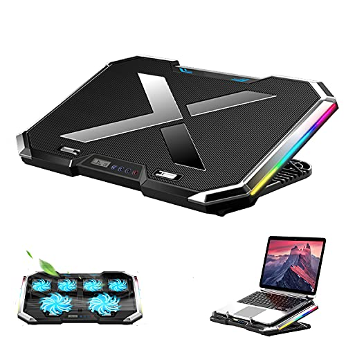 Proffisy RGB Laptop Cooling Pad 15.6-17.3 Inch, Gaming Laptop Cooler Stand with 6 Quiet Cooling Fans and 7 Height Adjustable, LCD Screen and RGB Lights for Notebook Gaming Laptop (Black)