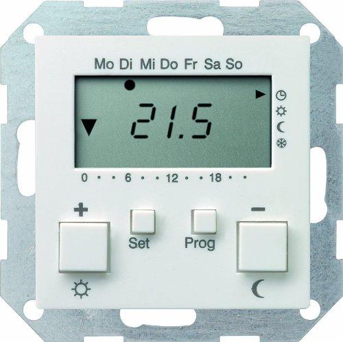 Gira 237027 Raumtemperatur-Regler 230 V mit Uhr System 55, reinweiß matt