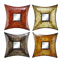 Deco 79 Metal Mirr Decor, 4 Assorted Colors, Set of 4