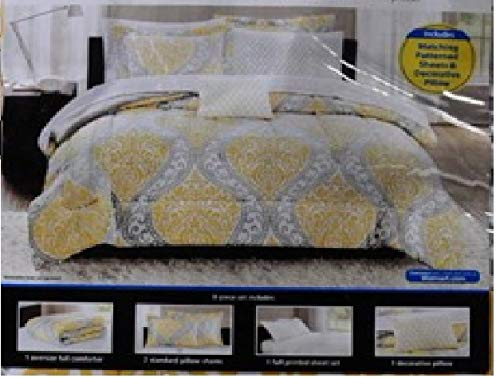 Mainstays Yellow Damask Coordinated Bedding Set Bed in a Bag - Full