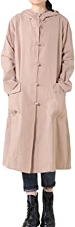 Women's Trench Coat Cotton Linen Hoodie Jacket Long Sleeve Chinese Frog Button Outfit