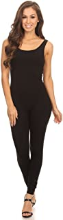 Women's Scoop Neck Sleeveless Stretch Cotton One piece Jumpsuits Unitard Bodysuits(&Plus)