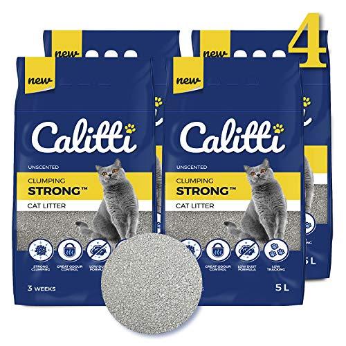 Calitti Katzenstreu Klumpstreu ohne Duft | 100% natürlichem Bentonit | 12 Wochen - Set 20L